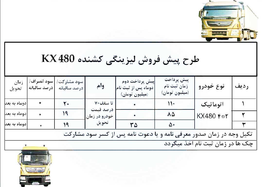 طرح پیش فروش لیزینگی کشنده kx480